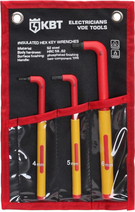 Набор диэлектрических ключей КВТ НИИ-17, шестигранных, 3 шт73223Набор диэлектрических шестигранных ключей КВТ НИИ-17 поставляется в удобной сумке с ремнем и специальными крепежными отверстиями. Переносить сумку с инструментом легко и удобно: вес набора достигает 327 граммов. Рукоятки ключей двухкомпонентные, нескользящие. Полная изоляция до 1000 В обеспечивает безопасную работу с крепежом. Особенности и характеристики: Для работы под напряжением до 1000 В; Набор диэлектрических шестигранных ключей: 4, 5, 6 мм; Твердость стержня: HRC 58…62; Материал стержня: сталь S2; Обработка поверхности: воронение; Двухкомпонентные рукоятки с прорезиненным нескользящим покрытием; Маркировка типоразмера и VDE-сертификации по IEC 609000 - на каждом ключе; Прочная и удобная раскладная сумка с ремнем-липучкой и крепежными отверстиями под евростенды;Вес набора: 327 г.