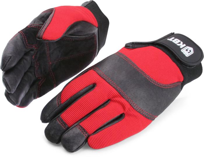 Перчатки монтажника КВТ С-33. Размер M75382Два вида кожи на ладони и пальцах обеспечивает повышенное сцепление перчатки с предметами, предотвращая их выскальзывание.Двойные швы перчатки устойчивы к интенсивным нагрузкам.Мягкая накладка из толстой кожи на ладони защищает ее от натирания.Кожаная вставка на тыльной стороне перчатки защищают костяшки руки от удара.Прочная застежка-напульсник на липучке обеспечивает удобную подгонку и надежную фиксацию перчатки на руке. Состав:ладонная сторона: 100% натуральная кожатыльная сторона: 96% полиэстер, 4% спандекс