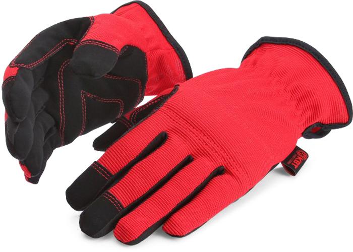 Перчатки монтажника КВТ С-31. Размер L75385Перчатки монтажника КВТ благодаря эластичным материалам идеально облегают кисть руки. Специальный материал на ладони и пальцах обеспечивает повышенное сцепление перчатки с предметами, предотвращая их выскальзывание. Мягкая вставка на ладони защищает ее от натирания. Мягкая вставка на тыльной стороне перчатки защищают костяшки руки от удара. Вшитая резинка удерживает перчатку на запястье. Состав:ладонная сторона: 95% полиэстер, 5% эластантыльная сторона: 50% полиэстер, 50% полиуретан