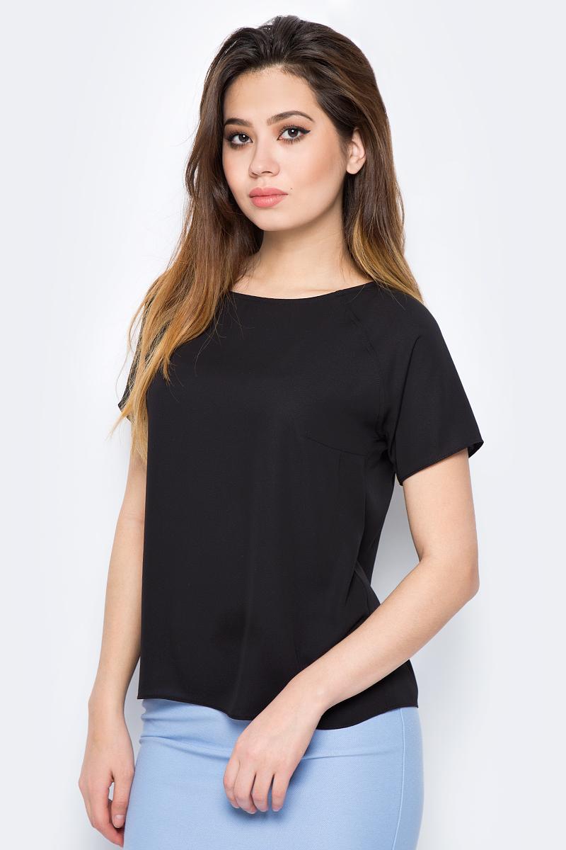 Блузка женская adL, цвет: черный. 11524788011_001. Размер M (44/46)11524788011_001Стильная блузка от adL выполнена из высококачественного материала. Модель свободного кроя с короткими рукавами-реглан и круглым вырезом горловины.