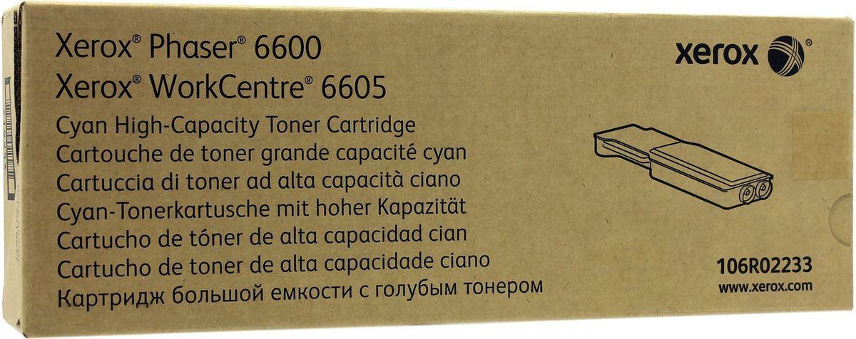 Xerox 106R02233, Cyan тонер-картридж для Xerox Phaser 6600/WorkCentre 6605 toner cartridges for xerox phaser 6010 6000 workcentre 6015 6015v tn for xerox 106r01627 106r01628 106r01629 106r01630 chip