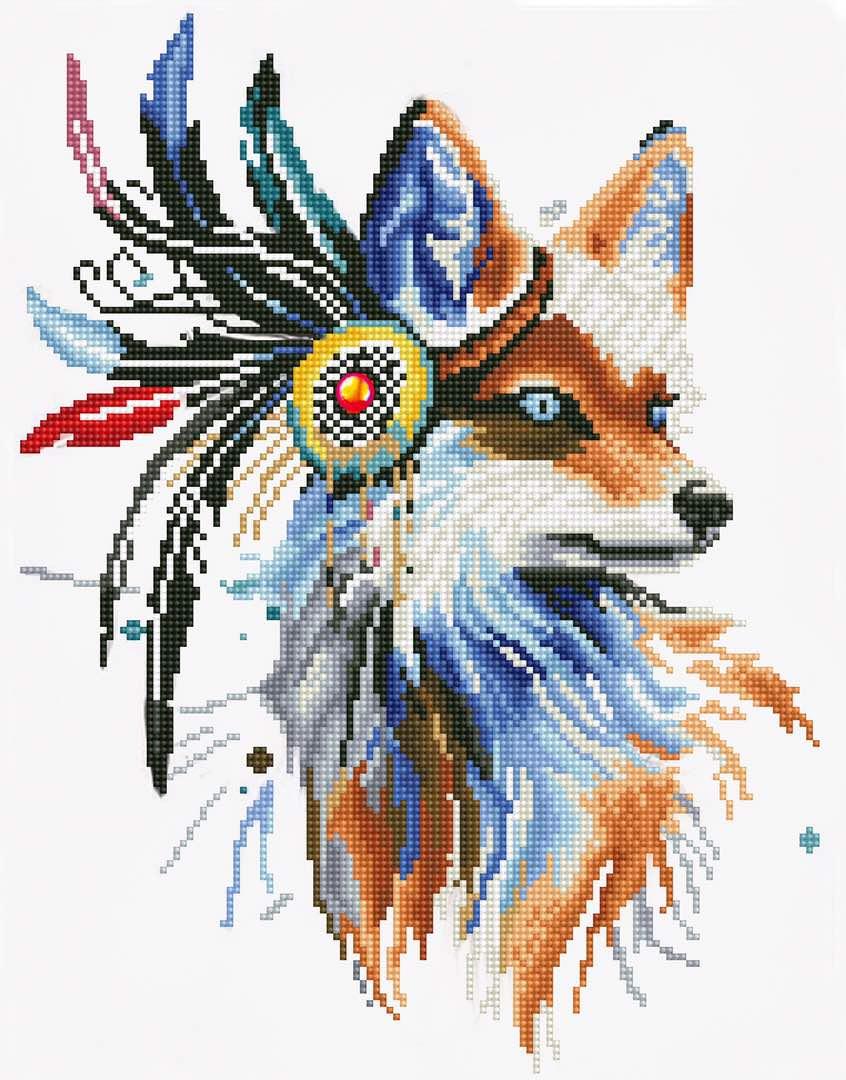 """Набор для создания картины со стразами Цветной """"Лиса-индеец"""", 40 х 50 см. LGP002"""