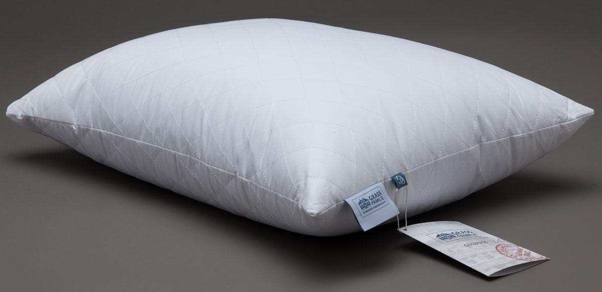 Подушка Grass Familie Premium Familie Non-Allergenic, наполнитель: высокосиликонизированное микроволокно, цвет: белый, 50 х 68 смFS-9210Абсолютно гиппоаллергенная постель. Эксклюзивная технология изготовления одеял: легкие волокна свободно заполняют box-кассеты, в которых волокно свободно перемещается в небольшом пространстве, наполняя воздухом вашу постель. Гипоаллергенный наполнитель не накапливает пыль благодаря очень плотной ткани чехлов (поры ткани около 10 мкр, которые не пропускают внутрь пылевого клеща). Стирка 60С°.