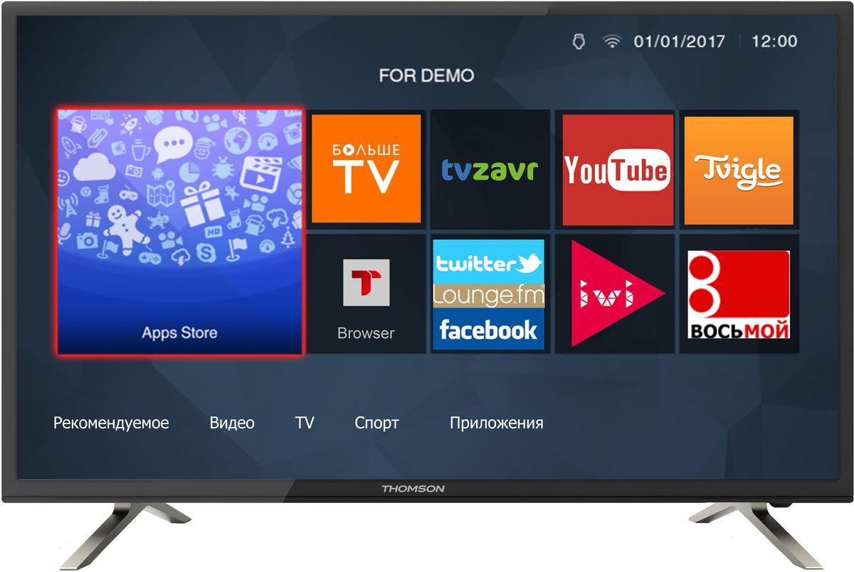 Thomson T28RTL5030, Black телевизор90000004997Телевизор Thomson T28RTL5030 со SMART TV оборудован LED подсветкой и поддерживает разрешение HD (1366х768). Оснащен системой динамиков 2.0, выдающих звук общей мощностью 10 Вт. Источником сигнала для качественной реалистичной картинки служат не только цифровые эфирные и кабельные каналы, но и любые записи с внешних носителей, благодаря универсальному встроенному USB медиаплееру. Имеются 2 HDMI-входа, благодаря которым к телевизору могут подключаться современные устройства, поддерживающие разрешение высокой четкости.Thomson T28RTL5030 обладает рядом функций, позволяющих добиться наилучшего качества картинки и звука. В их числе шумоподавление. Кроме того, телевизор оснащен удобной функцией TimeShift, благодаря которой при условии подключения к ТВ USB-накопителя, телевизионные трансляции можно ставить на паузу.