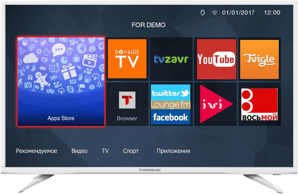 Thomson T43FSL5031, White телевизор90000005029Телевизор ThomsonT43FSL5031 со SMART TV оборудован LED подсветкой и поддерживает разрешение Full HD (1920х1080). Оснащен системой динамиков 2.0, выдающих звук общей мощностью 16 Вт. Источником сигнала для качественной реалистичной картинки служат не только цифровые эфирные и кабельные каналы, но и любые записи с внешних носителей, благодаря универсальному встроенному USB медиаплееру. Имеются 3 HDMI-входа, благодаря которым к телевизору могут подключаться современные устройства, поддерживающие разрешение высокой четкости.Thomson T43FSL5031 обладает рядом функций, позволяющих добиться наилучшего качества картинки и звука. В их числе шумоподавление. Кроме того, телевизор оснащен удобной функцией TimeShift, благодаря которой при условии подключения к ТВ USB-накопителя, телевизионные трансляции можно ставить на паузу.