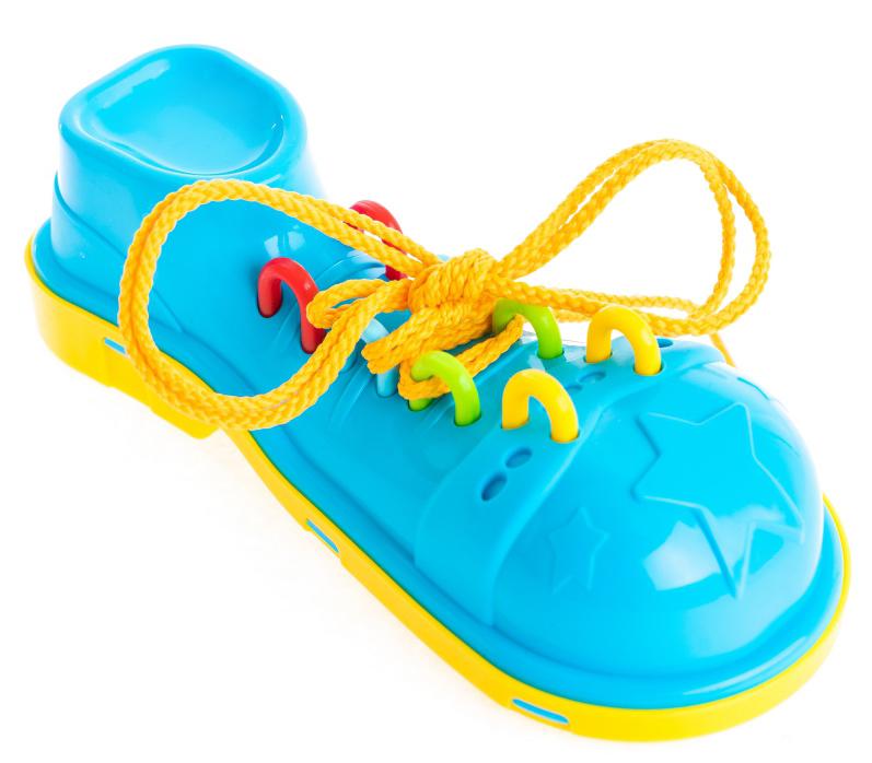 Пластмастер Игра-шнуровка Клоунский ботинок цвет желтый голубой мастер вуд игра шнуровка пуговичка цвет синий желтый