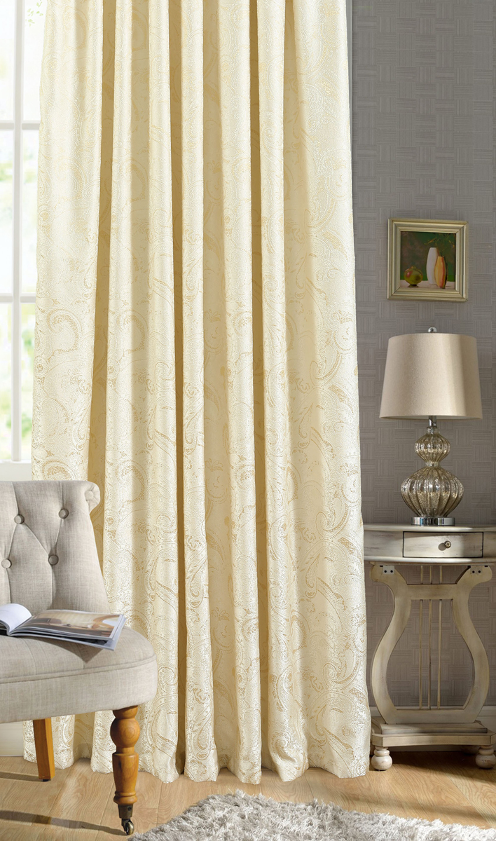 Штора Garden, на ленте, цвет: золотисто-молочный, высота 260 см. С 537645 V1С 537645 V1Штора для гостиной, выполнена из жаккарда с рисунком. Приятная текстура и цвет штор привлекут к себе внимание и органично впишутся в интерьер помещения.Штора крепится на карниз при помощи ленты, которая поможет красиво и равномерно задрапировать верх.