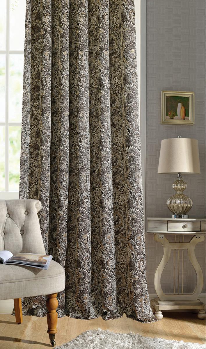 Штора Garden, на ленте, цвет: коричневый, высота 260 см. С 537645 V13С 537645 V13Штора для гостиной, выполнена из жаккарда с рисунком. Приятная текстура и цвет штор привлекут к себе внимание и органично впишутся в интерьер помещения. Штора крепится на карниз при помощи ленты, которая поможет красиво и равномерно задрапировать верх.