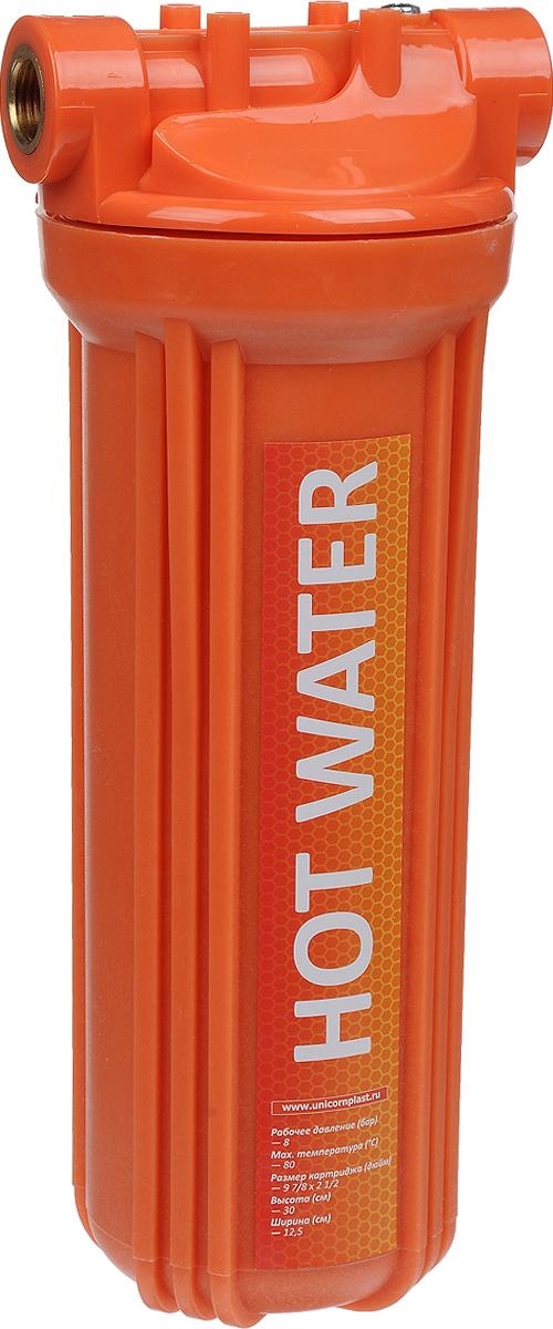 Корпус фильтра для горячей воды Unicorn FH2P HOT, 30 х 12,5 см, 8 бар, 1/2ИС.230044Корпус фильтра для горячей воды Unicorn FH2P HOT используется для фильтрации горячей воды. Широко применяется в системах горячего водоснабжения для защиты сантехники, а также промышленного оборудования.Корпус 2-составной (крышка и колба), колба фильтра оснащена уплотнительной резинкой для лучшей герметичности, а также клапаном для спуска воздуха. Корпус устойчив к воздействию высоких температур и целого ряда химических соединений.Предполагает установку стандартных 10 картриджей из полипропиленового волокна или полипропиленового шнура для горячей воды.Высота: 30 см.Ширина: 12,5 см.Подключение: 1/2.Размер картриджа: 10x2 1/2.Рабочее давление: 8 бар.Рабочая температура: 2-80°С.