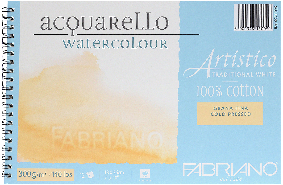 Fabriano Альбом для акварели Artistico Traditional White 12 листов 6631192666311926Fabriano Artistico Traditional White - акварельная бумага, которая на 100% состоит из хлопка, производится на специальной цилиндрической машине, имитирующей ручное литьё. Не содержит хлора, кислот и оптических отбеливателей, что гарантирует длительную сохранность. Отличается двумя необрезными краями с водяными знаками FABRIANO+Artistico по короткой стороне. Идеально подходит для акварели, темперы, гуаши, акрила, чернил, угля, графита.