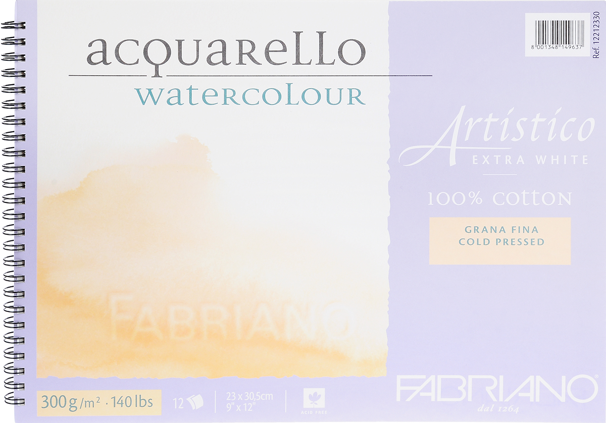 Fabriano Альбом для акварели Artistico Extra White 12 листов 12212330 - Бумага и картон