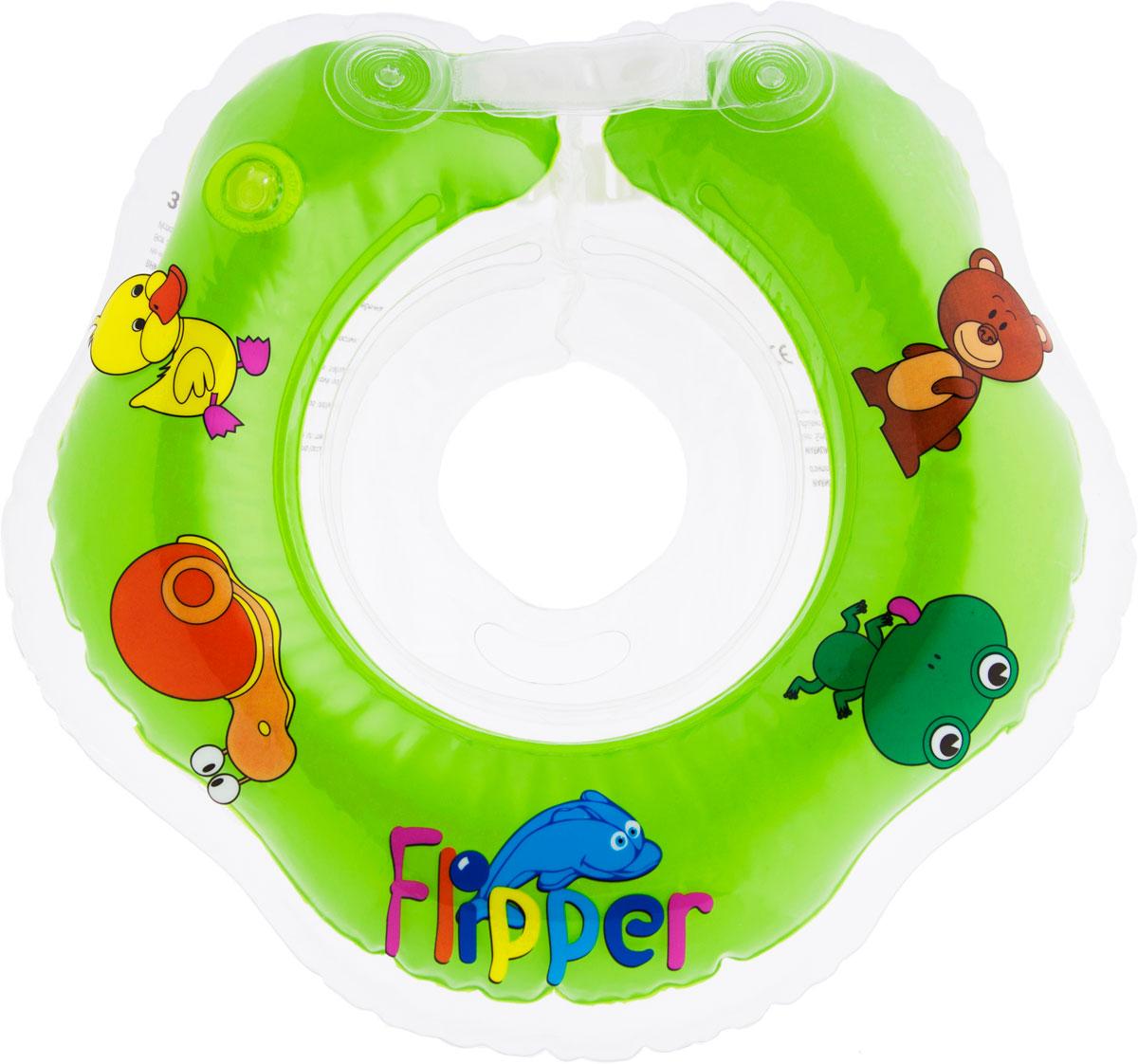 Круг на шею для купания Roxy-Kids Flipper, цвет: зеленый roxy kids козырек защитный для мытья головы rbc 492 g зеленый от 6 месяцев до 3 лет