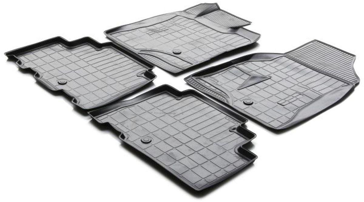 Коврики в салон Rival для Chevrolet Captiva 2011-н.в., с крепежом, полиуритан, 4 шт. 1100700111007001Прочные и долговечные коврики Rival в салон автомобиля, изготовлены из высококачественного и экологичного сырья, полностью повторяют геометрию салона вашего автомобиля.- Надежная система крепления, позволяющая закрепить коврик на штатные элементы фиксации, в результате чего отсутствует эффект скольжения по салону автомобиля.- Высокая стойкость поверхности к стиранию.- Специализированный рисунок и высокий борт, препятствующие распространению грязи и жидкости по поверхности коврика.- Перемычка задних ковриков в комплекте предотвращает загрязнение тоннеля карданного вала.- Произведены из первичных материалов, в результате чего отсутствует неприятный запах в салоне автомобиля.- Высокая эластичность, можно беспрепятственно эксплуатировать при температуре от -45 ?C до +45 ?C.Уважаемые клиенты!Обращаем ваше внимание,что коврики имеет формусоответствующую модели данного автомобиля. Фото служит для визуального восприятия товара.