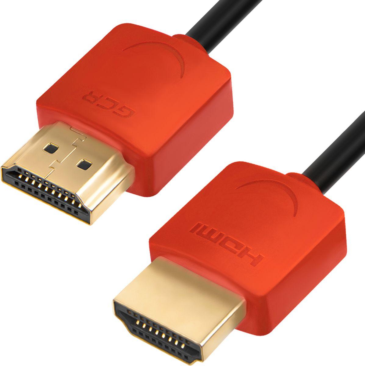 GCR GCR-HM550, Black Red кабель HDMI (1 м)GCR-HM550-1.0mНаименование: GCR Кабель HDMI цифровой 1.0m v1.4 19M [штекер]/19M [штекер] Ethernet High speed Premium Slim GCR-HM550-1.0m, AWG 32, медь, 4K, 3D, OD3.8m, экран, черный, красные коннекторы позолоченные контактыМодель: GCR-HM550Тип оборудования: КабельОписание: Кабель HDMI (High-Definition Multimedia Interface) предназначается для передачи цифровых видео-данных с высоким разрешением и многоканальных цифровых аудио-сигналов. Обеспечивают поддержку технологий 4К, HDCP, ARC, HEC. Возможность соединения при помощи разъема HDMI нескольких устройств в единую домашнюю сеть, делает этот интерфейс незаменимым.Поддержка создания Fast Ethernet-соединения (100 Мбит/с) (HDMI Ethernet Channel, HEC).Поддержка двунаправленного звукового канала Audio Return Cannel (ARC)Поддержка 3D.Поддержка разрешения UltraHD 4K (3840x2160), Full 4K (4096x2160), FullHD (1920x1080) и HD Ready (1280x720)Пропускная способность интерфейса: Скорость передачи данных до 10,2 Гбит/с,Тип разъемов кабеля: 19M [штекер]/19M [штекер] никелированные контакты, медьДиаметр проводника питания 5V: 32 AWGДиаметр проводника передачи данных: 32 AWGДиаметр кабеля: OD3.8mmТип оболочки: экологически чистый RoHS PVC (ПВХ)Совместимость: HDCP, ARC, HECЦвет кабеля: черный, красные коннекторыДлина кабеля: 1.0mФерритовые фильтры: нетЭкранирование: экранУпаковка: Пластиковый пакетТовар произведен в соответствии с ТУ и сертифицирован для продажи в России и странах ТС.