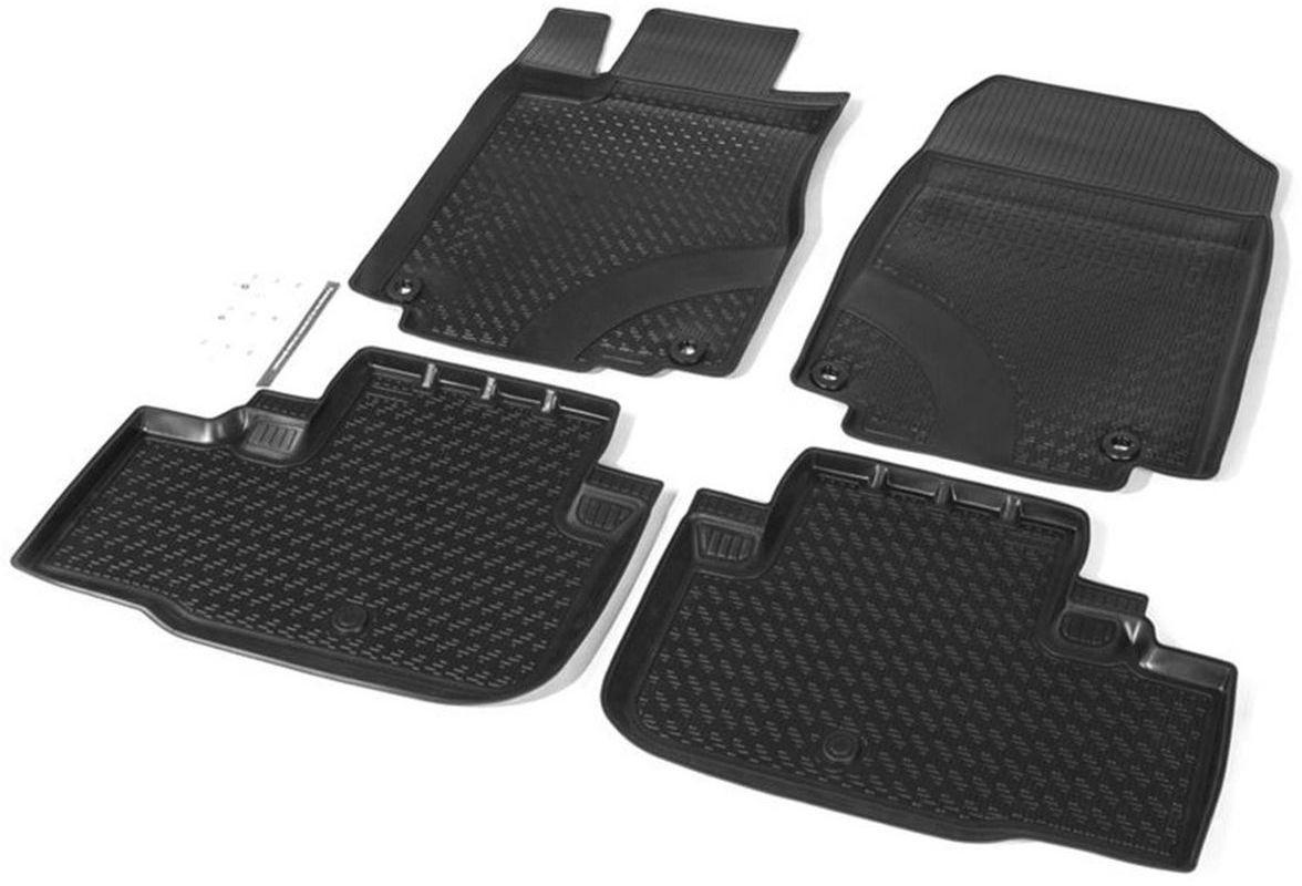 Коврики в салон Rival для Honda CR-V 2012-2015, с крепежом, полиуритан, 4 шт. 1210100112101001Прочные и долговечные коврики Rival в салон автомобиля, изготовлены из высококачественного и экологичного сырья, полностью повторяют геометрию салона вашего автомобиля.- Надежная система крепления, позволяющая закрепить коврик на штатные элементы фиксации, в результате чего отсутствует эффект скольжения по салону автомобиля.- Высокая стойкость поверхности к стиранию.- Специализированный рисунок и высокий борт, препятствующие распространению грязи и жидкости по поверхности коврика.- Перемычка задних ковриков в комплекте предотвращает загрязнение тоннеля карданного вала.- Произведены из первичных материалов, в результате чего отсутствует неприятный запах в салоне автомобиля.- Высокая эластичность, можно беспрепятственно эксплуатировать при температуре от -45 ?C до +45 ?C.Уважаемые клиенты!Обращаем ваше внимание,что коврики имеет формусоответствующую модели данного автомобиля. Фото служит для визуального восприятия товара.