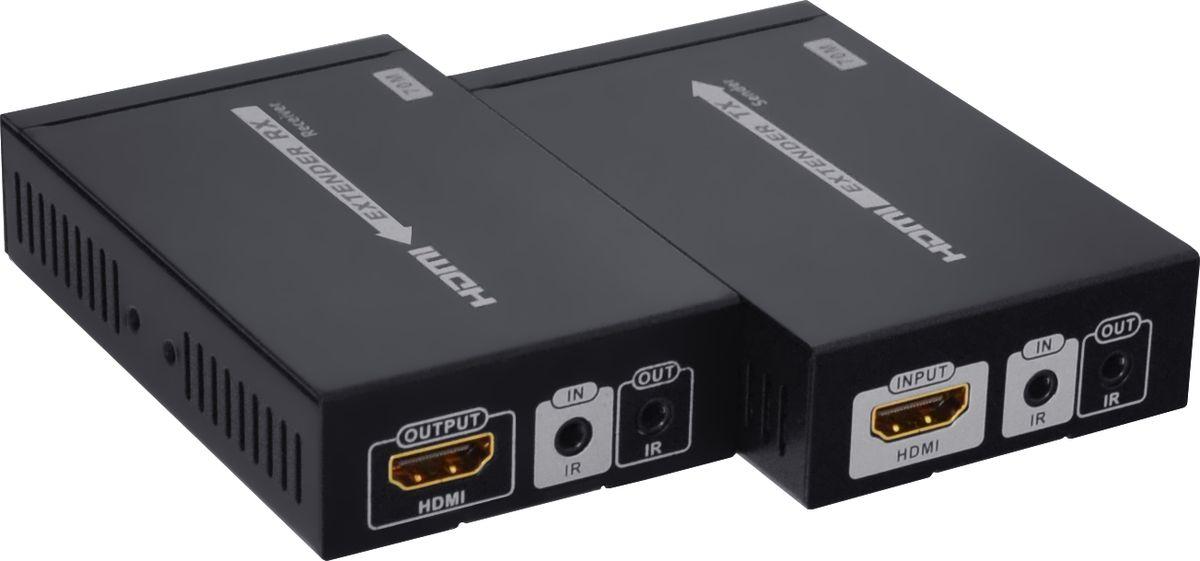 GCR GL-375, Black удлинитель HDMIGL-375Наименование: Удлинитель HDMI по витой паре GCR серия Greenline GL-375 до 70 метровОписание продукта: Предназначен для передачи цифрового видеосигнала высокого разрешения и многоканального звука между устройствами, оснащенными интерфейсом HDMI и расположенными на большом расстоянии друг от другаУниверсальность и распространенность формата HDMI сделали его незаменимым при подключении компьютерной техники, игровых консолей или HD-проигрывателей к телевизору или проектору.Для передачи видео- и аудиосигнала используется сетевой кабель Ethernet Lan Cat5e6/7 (витая пара). Это позволяет осуществлять передачу на расстояние до 70 метров, а благодаря поддержке технологии HDbaseT отсутствуют визуальные потери качества картинки и звука. При этом обязательно необходимо использовать сетевой кабель с медным проводником. Использование сетевых кабелей CCA не поддерживается устройством и не гарантирует корректную передачу видео и звука.Преимущества: - Автоматическое определение длины используемого сетевого кабеля и самостоятельная оптимизация передачи сигнала для достижения лучшего качества. Благодаря автоматической оптимизации, трансляция несжатого цифрового сигнала проходит без видимых потерь, с сохранением всех достоинств качества картинки и звука. - Подключение инфракрасного модуля, который передает сигнал от пульта ДУ к устройству воспроизведения. Это позволяет управлять плеером или ресивером, воспроизводящим видео, с помощью его штатного пульта дистанционного управления. - Технология HDbaseT обеспечивает поддержку передачи изображения с разрешением до UltraHD 4Kx2K, также предоставляет возможность трансляции 3D-видео. Благодаря этому, картинка на экране будет превосходного качества, а впечатления от просмотра - незабываемы. - Возможность подключения нескольких приемников в одной локальной сети и вывода изображения на различные экраны.- Передача исключительно с помощью встроенного оборудования и отсутствие необходимости установки дополнител