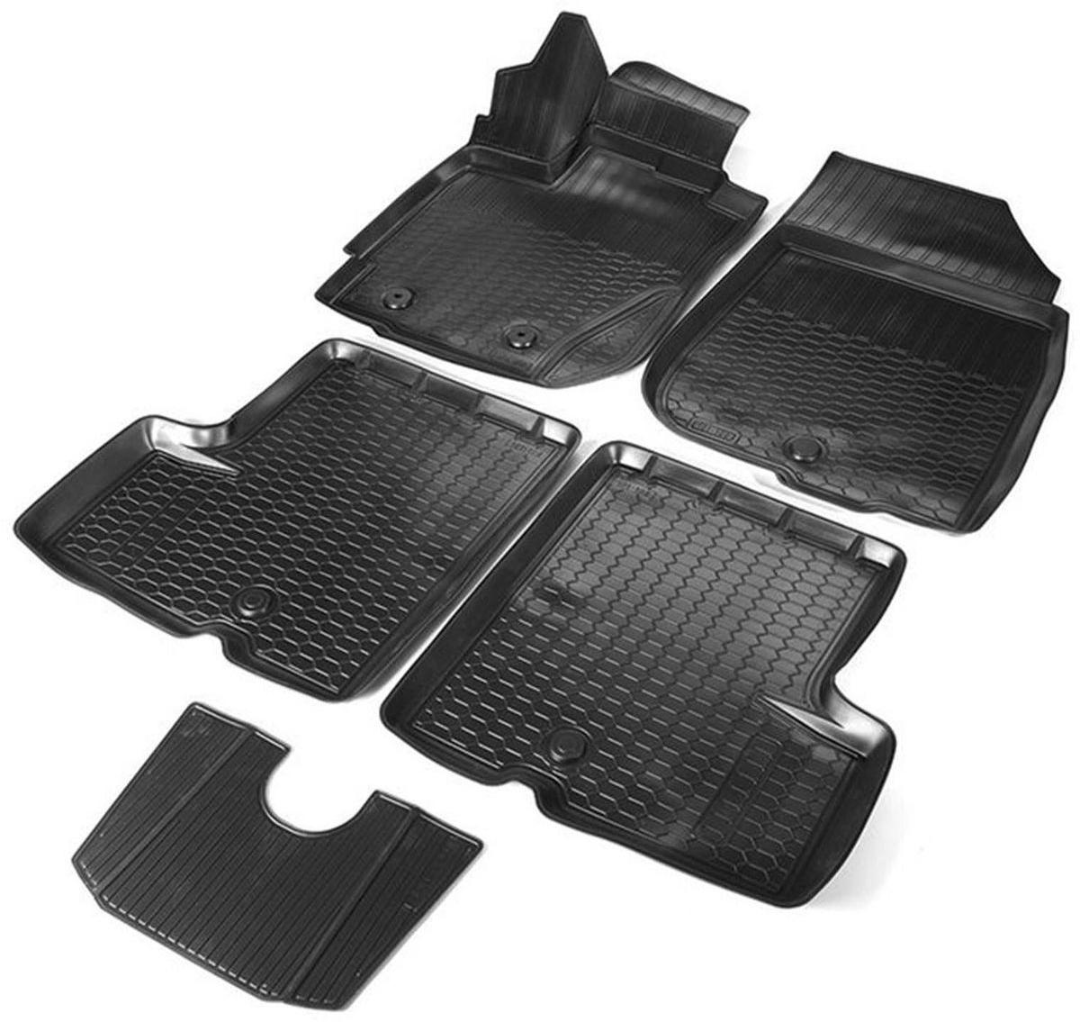 Коврики в салон Rival для Nissan Terrano 2WD/4WD 2017-н.в. / Renault Duster 2WD/4WD 2015-н.в., с крепежом, с перемычкой, полиуритан, 5 шт. 1470100714701007Прочные и долговечные коврики Rival в салон автомобиля, изготовлены из высококачественного и экологичного сырья, полностью повторяют геометрию салона вашего автомобиля.- Надежная система крепления, позволяющая закрепить коврик на штатные элементы фиксации, в результате чего отсутствует эффект скольжения по салону автомобиля.- Высокая стойкость поверхности к стиранию.- Специализированный рисунок и высокий борт, препятствующие распространению грязи и жидкости по поверхности коврика.- Перемычка задних ковриков в комплекте предотвращает загрязнение тоннеля карданного вала.- Произведены из первичных материалов, в результате чего отсутствует неприятный запах в салоне автомобиля.- Высокая эластичность, можно беспрепятственно эксплуатировать при температуре от -45 ?C до +45 ?C.Уважаемые клиенты!Обращаем ваше внимание,что коврики имеет формусоответствующую модели данного автомобиля. Фото служит для визуального восприятия товара.