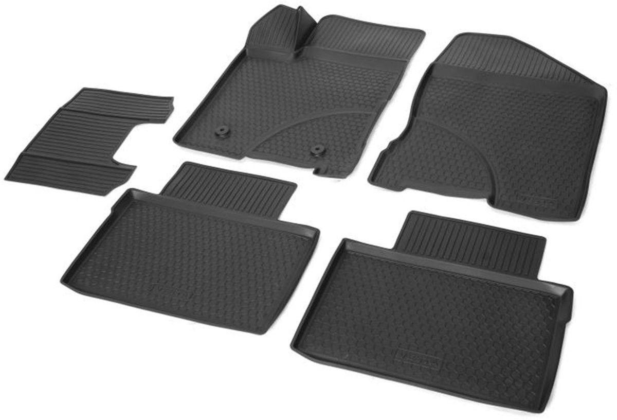 Коврики в салон Rival для Lada Vesta 2015-н.в., с крепежом, с перемычкой, полиуритан, 5 шт. 1600600116006001Прочные и долговечные коврики Rival в салон автомобиля, изготовлены из высококачественного и экологичного сырья. Они полностью повторяют геометрию салона вашего автомобиля.- Надежная система крепления, позволяющая закрепить коврик на штатные элементы фиксации, в результате чего отсутствует эффект скольжения по салону автомобиля.- Высокая стойкость поверхности к стиранию.- Специализированный рисунок и высокий борт, препятствующие распространению грязи и жидкости по поверхности коврика.- Перемычка задних ковриков в комплекте предотвращает загрязнение тоннеля карданного вала.- Произведены из первичных материалов, в результате чего отсутствует неприятный запах в салоне автомобиля.- Высокая эластичность, можно беспрепятственно эксплуатировать при температуре от -45°C до +45°C.Уважаемые клиенты!Обращаем ваше внимание,что коврики имеют формусоответствующую модели данного автомобиля. Фото служит для визуального восприятия товара.