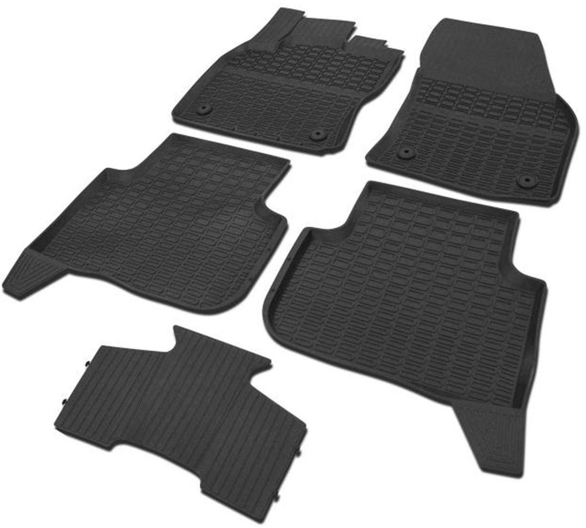 Коврики в салон литьевые Rival для Volkswagen Tiguan 2017-н.в., с крепежом, с перемычкой, резина, 5 шт. 6580500265805002Современная версия ковриков Rival для автомобилей, изготовлены из высококачественного и экологичного сырья с использованием технологии высокоточного литья под давлением, полностью повторяют геометрию салона вашего автомобиля.- Усиленная зона подпятника под педалями защищает наиболее подверженную истиранию область.- Надежная система крепления, позволяющая закрепить коврик на штатные элементы фиксации, в результате чего отсутствует эффект скольжения по салону автомобиля.- Высокая стойкость поверхности к стиранию.- Специализированный рисунок и высокий борт, препятствующие распространению грязи и жидкости по поверхности коврика.- Перемычка задних ковриков в комплекте предотвращает загрязнение тоннеля карданного вала.- Коврики произведены из первичных материалов, в результате чего отсутствует неприятный запах в салоне автомобиля.- Высокая эластичность, можно беспрепятственно эксплуатировать при температуре от -45°C до +45°C. Уважаемые клиенты! Обращаем ваше внимание, что коврики имеют форму, соответствующую модели данного автомобиля. Фото служит для визуального восприятия товара.