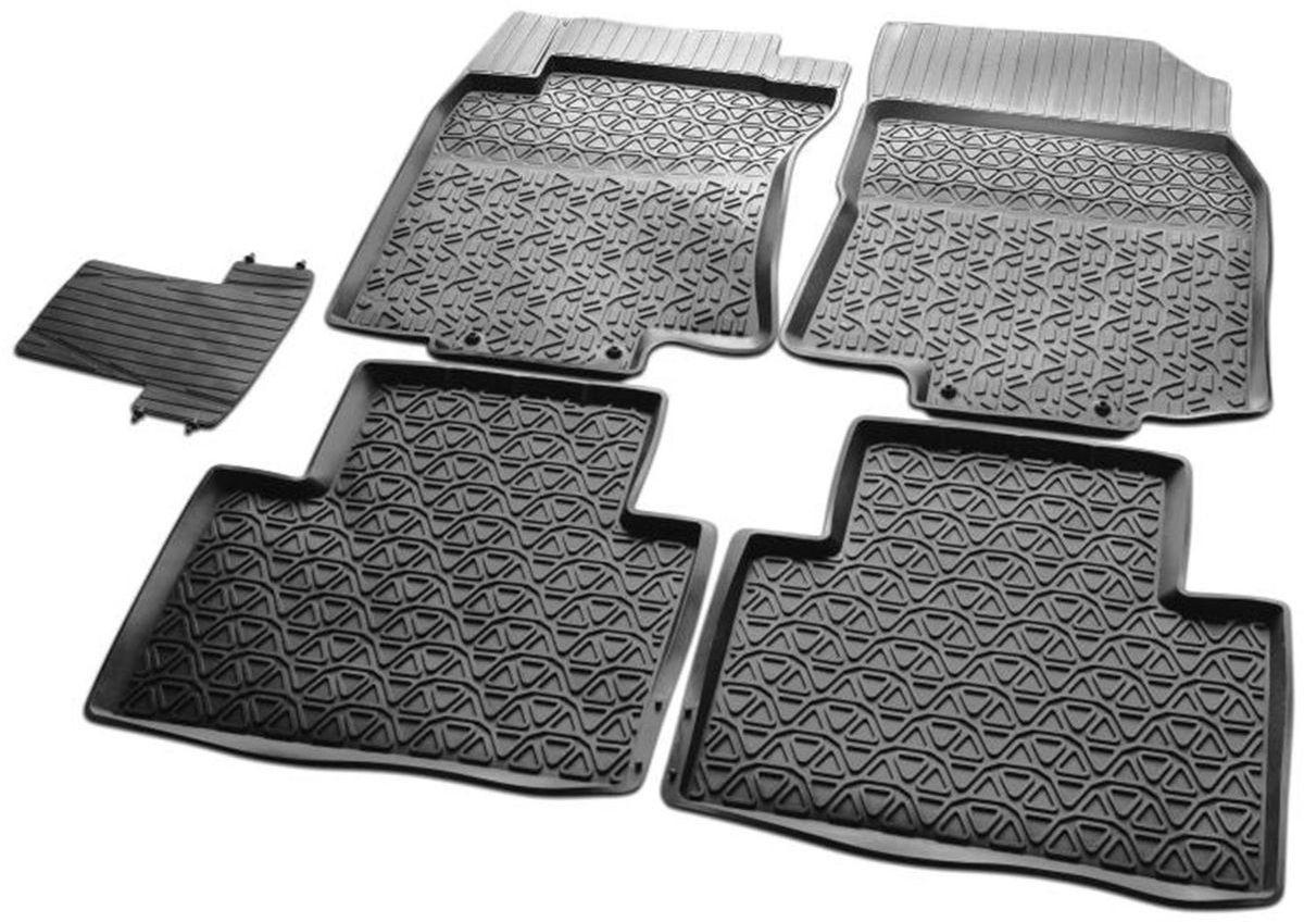 Коврики в салон литьевые Rival для Nissan X-Trail 2015-н.в., с крепежом, с перемычкой, резина, 5 шт. 6410900164109001Коврики изготовлены из высококачественного и экологичного сырья с использованием технологии высокоточного литься под давлением, полностью повторяют геометрию салона вашего автомобиля.- Усиленная зона подпятника под педалями защищает наиболее подверженную истиранию область.- Надежная система крепления, позволяющая закрепить коврик на штатные элементы фиксации, в результате чего отсутствует эффект скольжения по салону автомобиля.- Высокая стойкость поверхности к стиранию.- Специализированный рисунок и высокий борт, препятствующие распространению грязи и жидкости по поверхности коврика.- Произведены из первичных материалов, в результате чего отсутствует неприятный запах в салоне автомобиля.- Перемычка задних ковриков в комплекте предотвращает загрязнение тоннеля карданного вала.- Высокая эластичность, можно беспрепятственно эксплуатировать при температуре от -45 C до +45 C.Уважаемые клиенты!Обращаем ваше внимание, что коврики имеет форму соответствующую модели данного автомобиля. Фото служит для визуального восприятия товара.