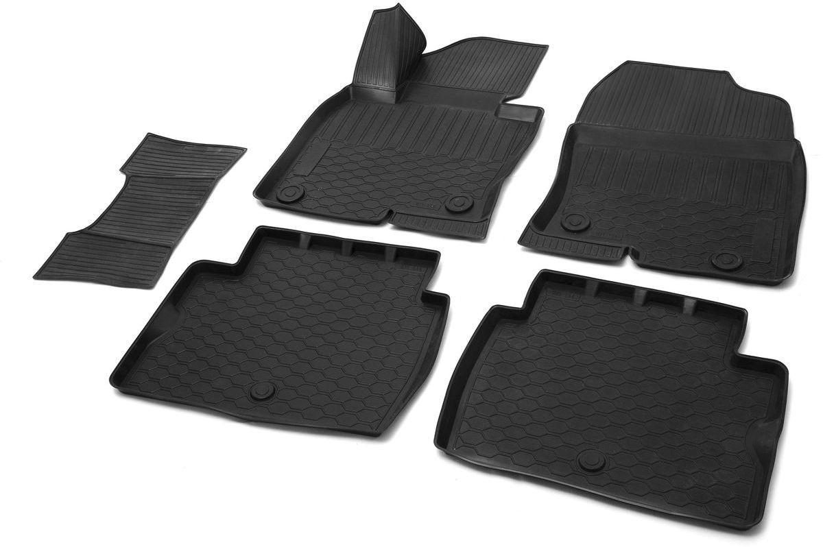 Коврики в салон Rival для Mazda CX-5 2017-н.в., с крепежом, с перемычкой, полиуритан, 5 шт. 1380300413803004Автомобильные коврики салона Rival Прочные и долговечные коврики в салон автомобиля, изготовлены из высококачественного и экологичного сырья, полностью повторяют геометрию салона вашего автомобиля.- Надежная система крепления, позволяющая закрепить коврик на штатные элементы фиксации, в результате чего отсутствует эффект скольжения по салону автомобиля.- Высокая стойкость поверхности к стиранию.- Специализированный рисунок и высокий борт, препятствующие распространению грязи и жидкости по поверхности коврика.- Перемычка задних ковриков в комплекте предотвращает загрязнение тоннеля карданного вала.- Произведены из первичных материалов, в результате чего отсутствует неприятный запах в салоне автомобиля.- Высокая эластичность, можно беспрепятственно эксплуатировать при температуре от -45 ?C до +45 ?C.Уважаемые клиенты!Обращаем ваше внимание, что коврики имеет форму соответствующую модели данного автомобиля. Фото служит для визуального восприятия товара.