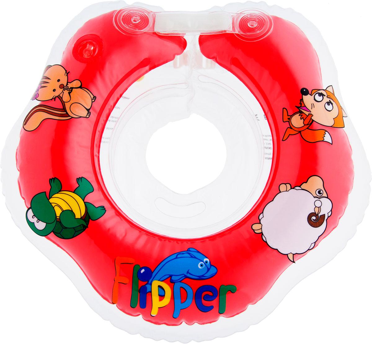 Roxy-kids Круг на шею для купания Flipper цвет красный круг для купания младенцев flipper отзывы
