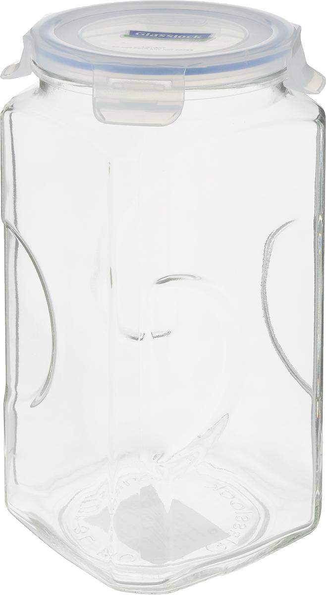 Банка для сыпучих продуктов Glasslock, цвет: прозрачный, синий, 3 лIP-593Банка Glasslock, выполненная из стекла, отлично подойдет для хранения сыпучих продуктов, специй, бакалеи. Пластиковая крышка с силиконовой прослойкой плотно закрывается с помощью 4 защелок, дольше сохраняя свежесть продуктов. 100% герметичность и защита продукта от влаги, посторонних запахов, плесени, насекомых.Такая банка стильно дополнит интерьер и поможет дольше хранить продукты.Диаметр банки (по верхнему краю): 12,5 см.Высота банки: 27 см.