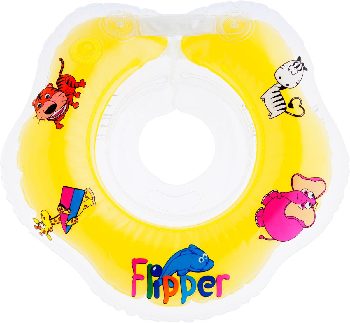 Круг на шею для купания Roxy-Kids Flipper, цвет: желтый круг для купания младенцев flipper отзывы