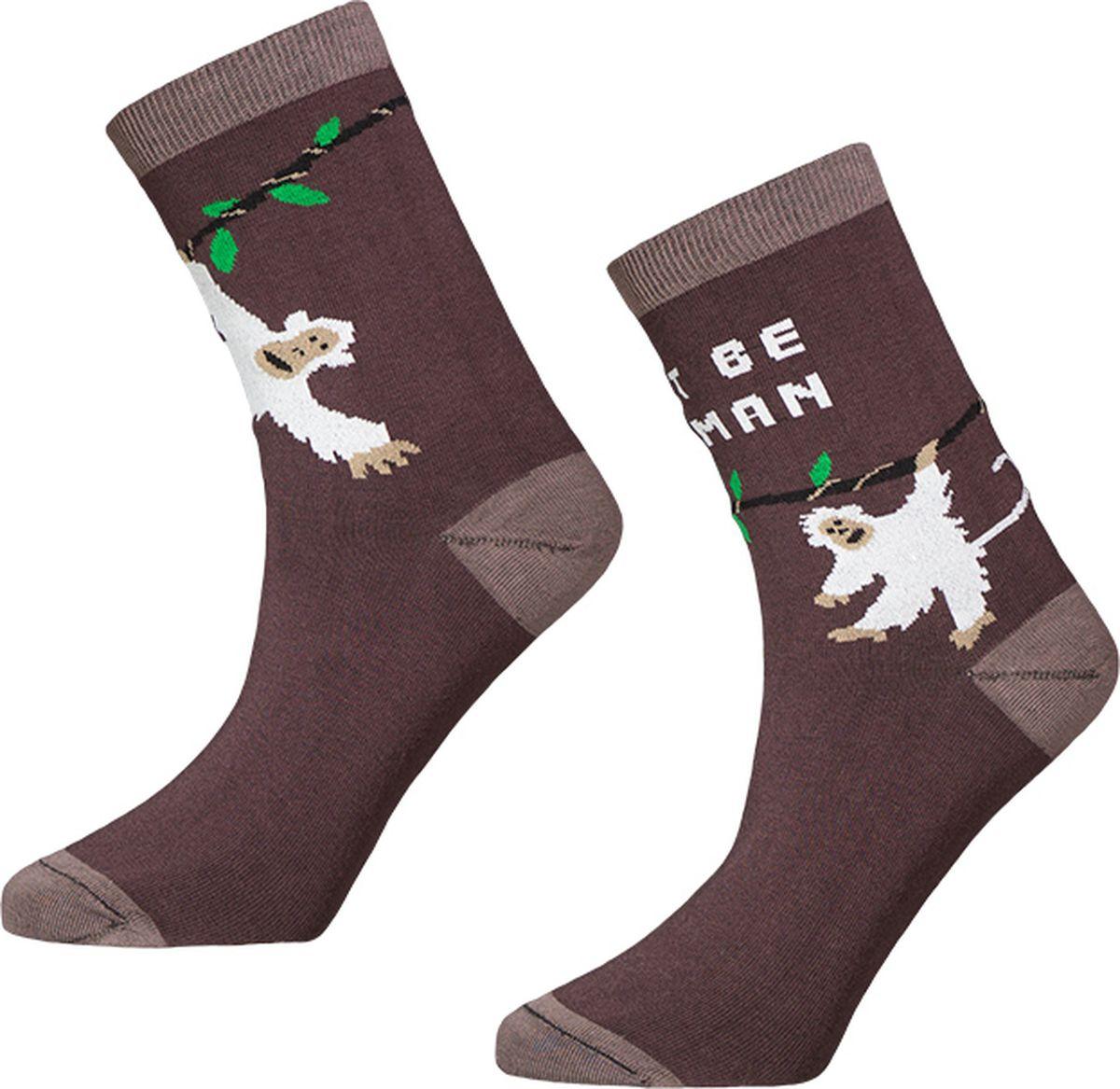 Носки Big Bang Socks Обезьяна, махровые, цвет: коричневый. a183. Размер 35/39a183Яркие махровые носки Big Bang Socks изготовлены из высококачественного хлопка с добавлением полиамидных и эластановых волокон, которые обеспечивают великолепную посадку. Носки отличаются ярким стильным дизайном. Они оформлены изображением обезьянки и надписью First be a Human (прежде всего будь человеком). Принты не симметричны на правом и левом носке.Удобная резинка идеально облегает ногу и не пережимает сосуды, усиленныепятка и мысок повышают износоустойчивость носка, а удлиненный паголенокпридает более эстетичный вид. Дизайнерские носки Big Bang Socks - яркая деталь в вашем образе и оригинальныйподарок для друзей и близких.