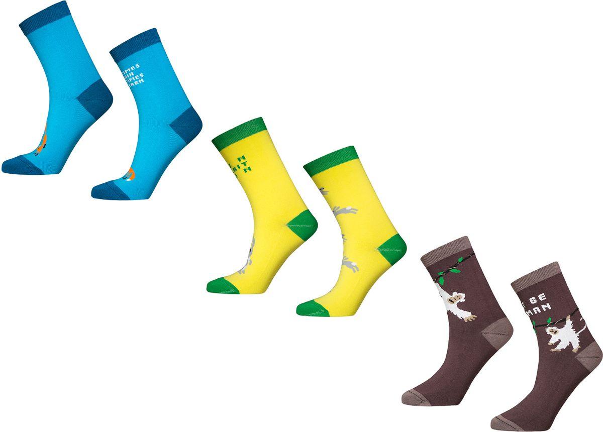 Носки Big Bang Socks, цвет: голубой, желтый, коричневый, 3 пары. box3a111. Размер 40/44 носки minecraft socks 3 pack green зеленые s 3 пары 11750