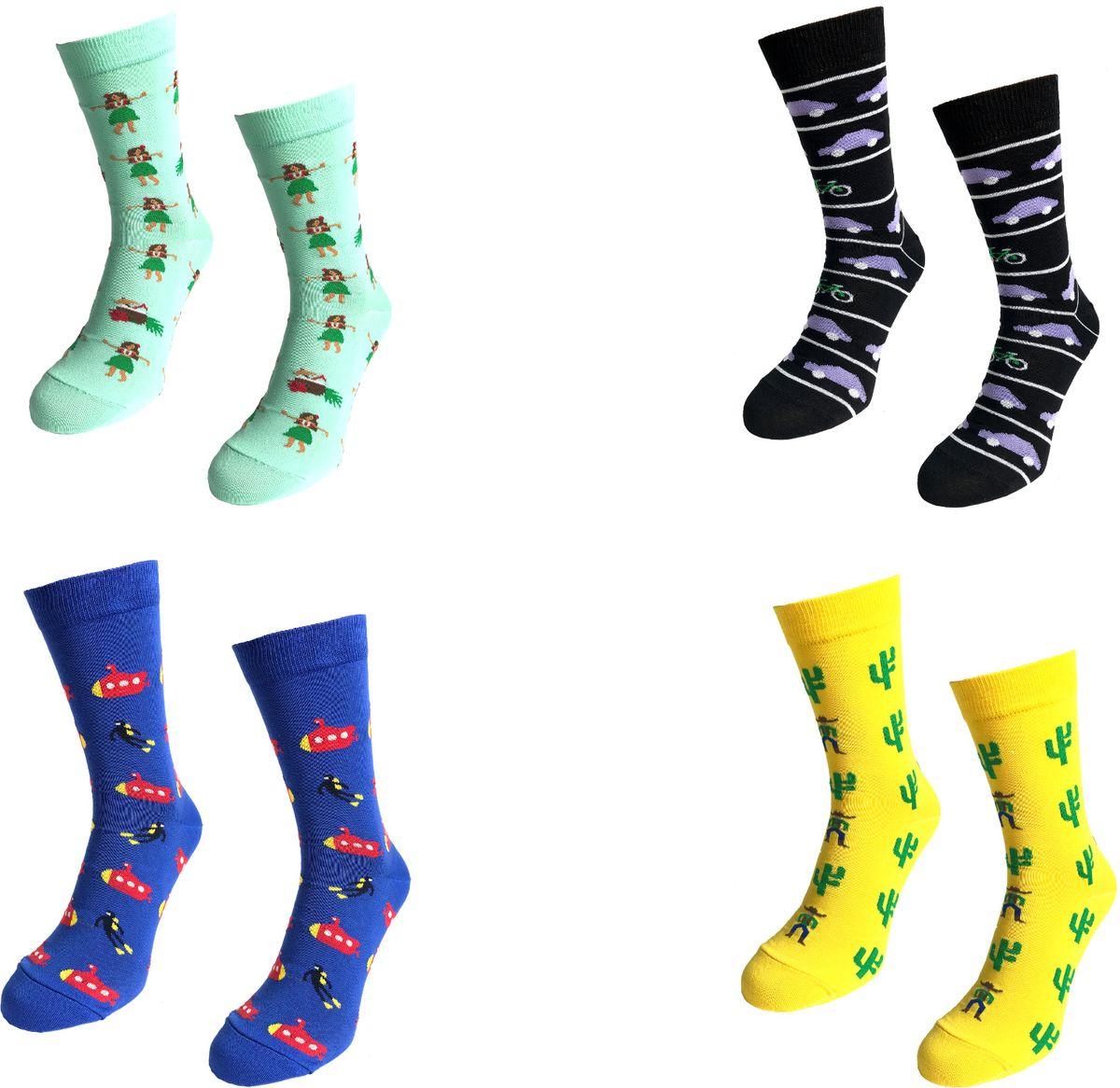 Носки Big Bang Socks, цвет: бирюзовый, черный, синий, желтый, 4 пары. box4b211. Размер 40/44box4b211Яркие носки Big Bang Socks изготовлены из высококачественного хлопка с добавлением полиамидных и эластановых волокон, которые обеспечивают великолепную посадку. Носки отличаются ярким стильным дизайном. Они оформлены забавным изображением и надписью на английском языке. Принты не симметричны на правом и левом носке.Удобная резинка идеально облегает ногу и не пережимает сосуды, усиленныепятка и мысок повышают износоустойчивость носка, а удлиненный паголенокпридает более эстетичный вид. Дизайнерские носки Big Bang Socks - яркая деталь в вашем образе и оригинальныйподарок для друзей и близких.В комплекте четыре пары носков.