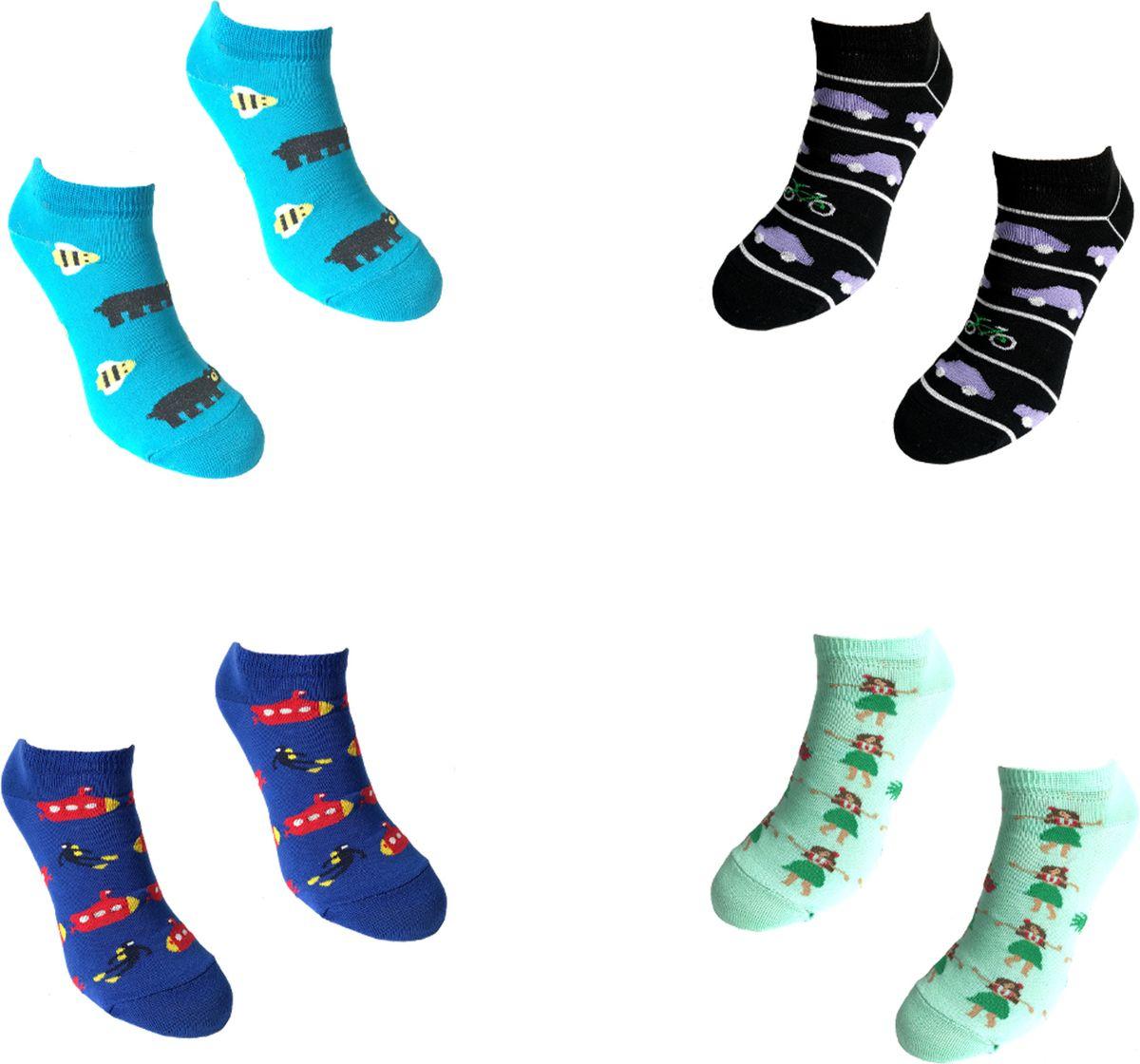 Носки Big Bang Socks, укороченные, цвет: голубой, черный, синий, бирюзовый, 4 пары. box4b212. Размер 35/39 носки minecraft socks 3 pack green зеленые s 3 пары 11750