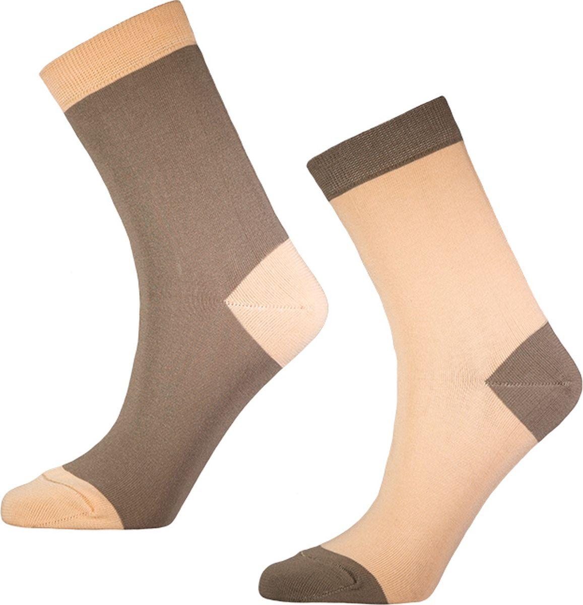 Носки мужские Big Bang Socks, цвет: персиковый, коричневый, 2 пары. d421. Размер 40/44 носки minecraft socks 3 pack green зеленые s 3 пары 11750