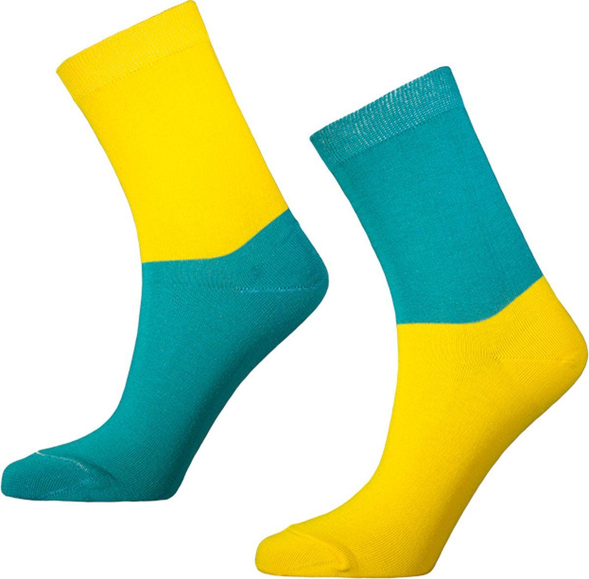 Носки мужские Big Bang Socks, цвет: желтый, бирюзовый, 2 пары. d441. Размер 40/44 big песочница ракушка big sand из 2 частей цвет синий