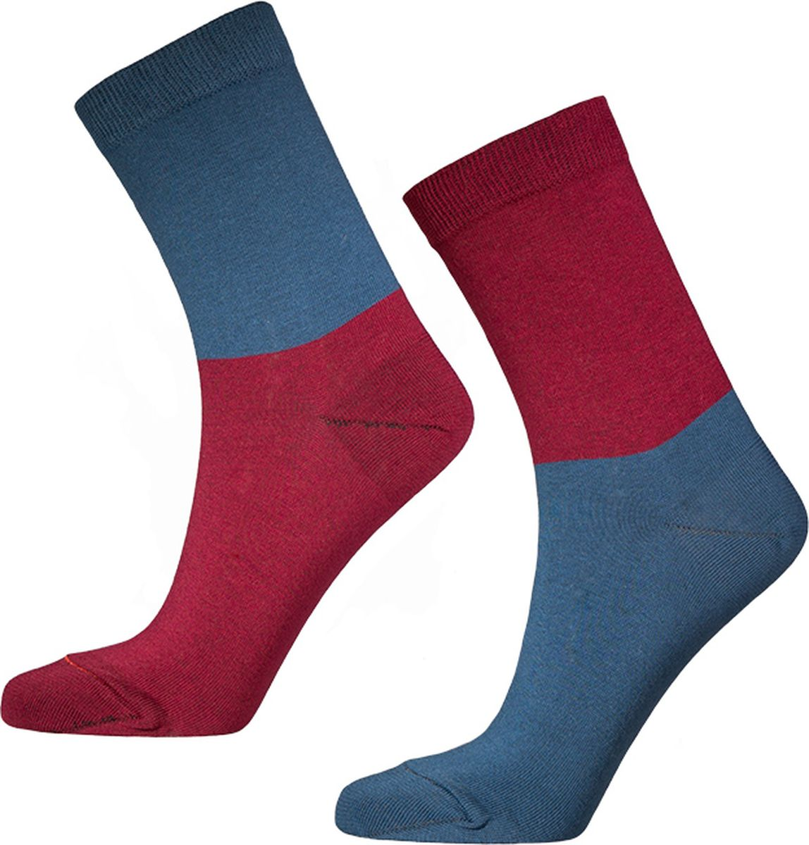 Носки мужские Big Bang Socks, цвет: джинсовый, бордовый, 2 пары. d471. Размер 40/44d471Яркие носки Big Bang Socks изготовлены из высококачественного хлопка с добавлением полиамидных и эластановых волокон, которые обеспечивают великолепную посадку. Носки отличаются ярким стильным дизайном. На правом и левом носке рисунки не симметричены.Удобная резинка идеально облегает ногу и не пережимает сосуды, усиленныепятка и мысок повышают износоустойчивость носка, а удлиненный паголенокпридает более эстетичный вид. Дизайнерские носки Big Bang Socks - яркая деталь в вашем образе и оригинальныйподарок для друзей и близких.В комплекте две пары носков.