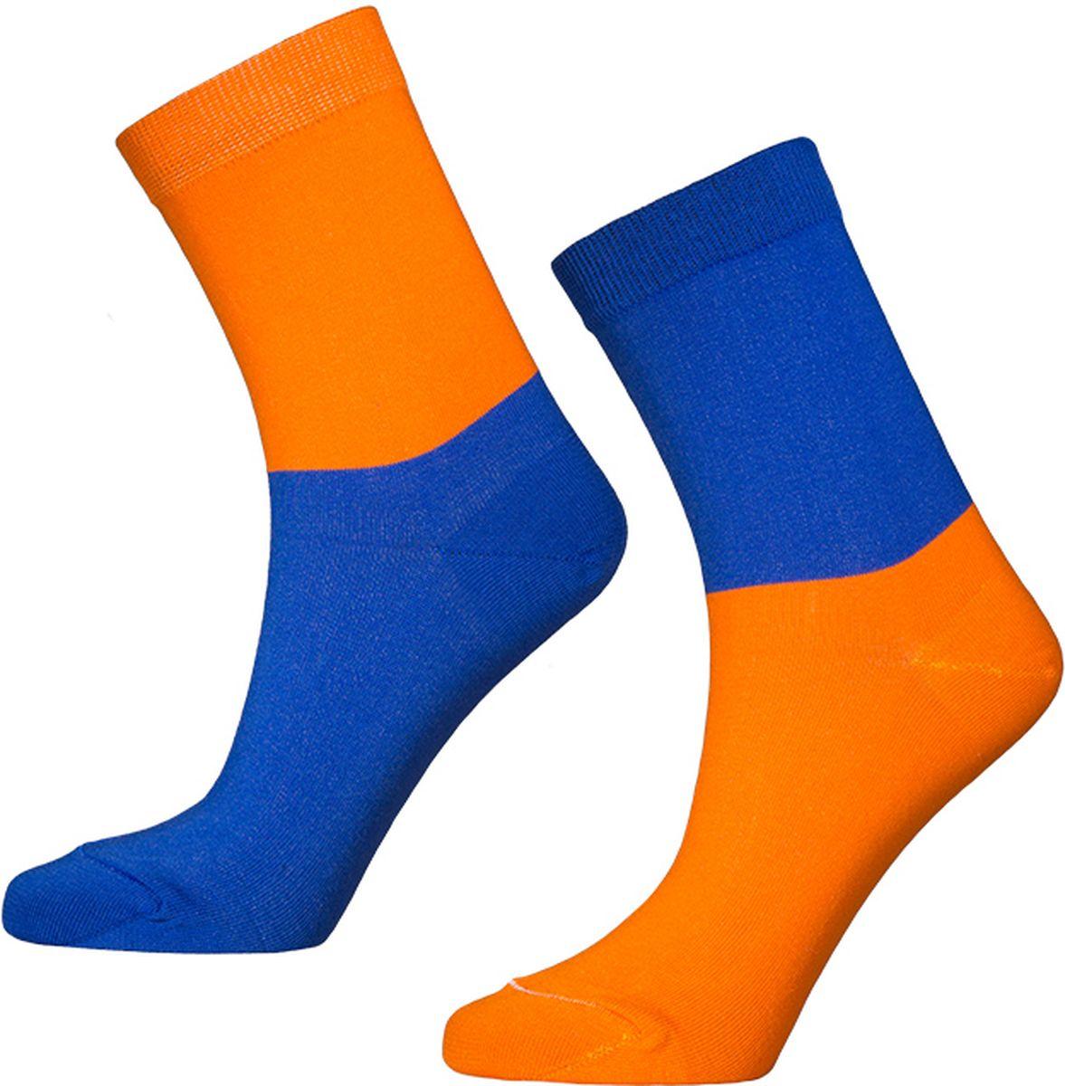 Носки мужские Big Bang Socks, цвет: оранжевый, васильковый, 2 пары. d481. Размер 40/44d481Яркие носки Big Bang Socks изготовлены из высококачественного хлопка с добавлением полиамидных и эластановых волокон, которые обеспечивают великолепную посадку. Носки отличаются ярким стильным дизайном. На правом и левом носке рисунки не симметричены.Удобная резинка идеально облегает ногу и не пережимает сосуды, усиленныепятка и мысок повышают износоустойчивость носка, а удлиненный паголенокпридает более эстетичный вид. Дизайнерские носки Big Bang Socks - яркая деталь в вашем образе и оригинальныйподарок для друзей и близких.В комплекте две пары носков.