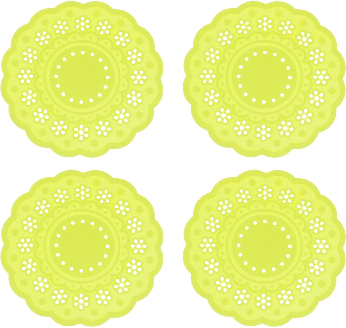 Набор подставок под горячее Доляна Затея, цвет: желтый, 10 см, 4 шт830227_желтыйНабор Доляна Затея состоит из 4 силиконовых подставок под горячее. Силиконовая подставка под горячее - практичный предмет, который обязательно пригодится в хозяйстве. Изделие поможет сберечь столы, тумбы, скатерти и клеенки от повреждения нагретыми сковородами, кастрюлями, чайниками и тарелками.