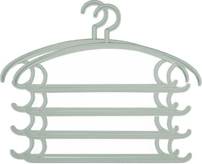 Вешалка комбо Удачная покупка KJ-08, цвет: серо-синий, 2 штУТ-00000166Комбинированные вешалки с плечиками, крючками и рейками для брюк дачная покупка KJ-08 выполнены из пластика. Позволяет аккуратно хранить одновременно несколько вещей, существенно экономя пространство платяного шкафа. Вешалка - это необходимый аксессуар для аккуратного хранения вещей.