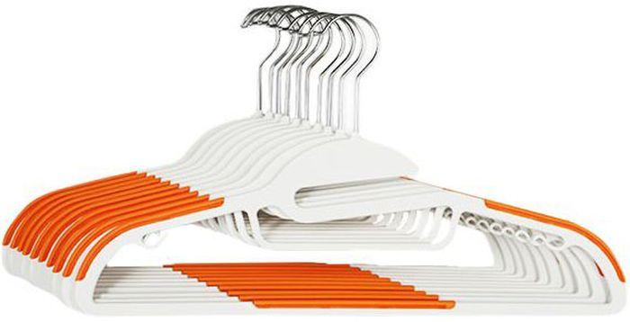 Набор из 10 прочных металлических вешалок с пластиковым покрытием.