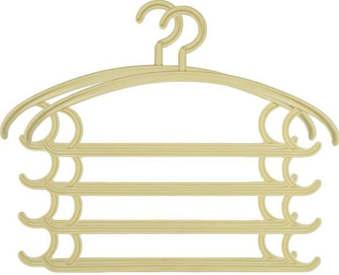 Вешалка комбо Удачная покупка KJ-08, цвет: бежевый, 2 штУТ-00000180Комбинированные вешалки с плечиками, крючками и рейками для брюк дачная покупка KJ-08 выполнены из пластика. Позволяет аккуратно хранить одновременно несколько вещей, существенно экономя пространство платяного шкафа. Вешалка - это необходимый аксессуар для аккуратного хранения вещей.