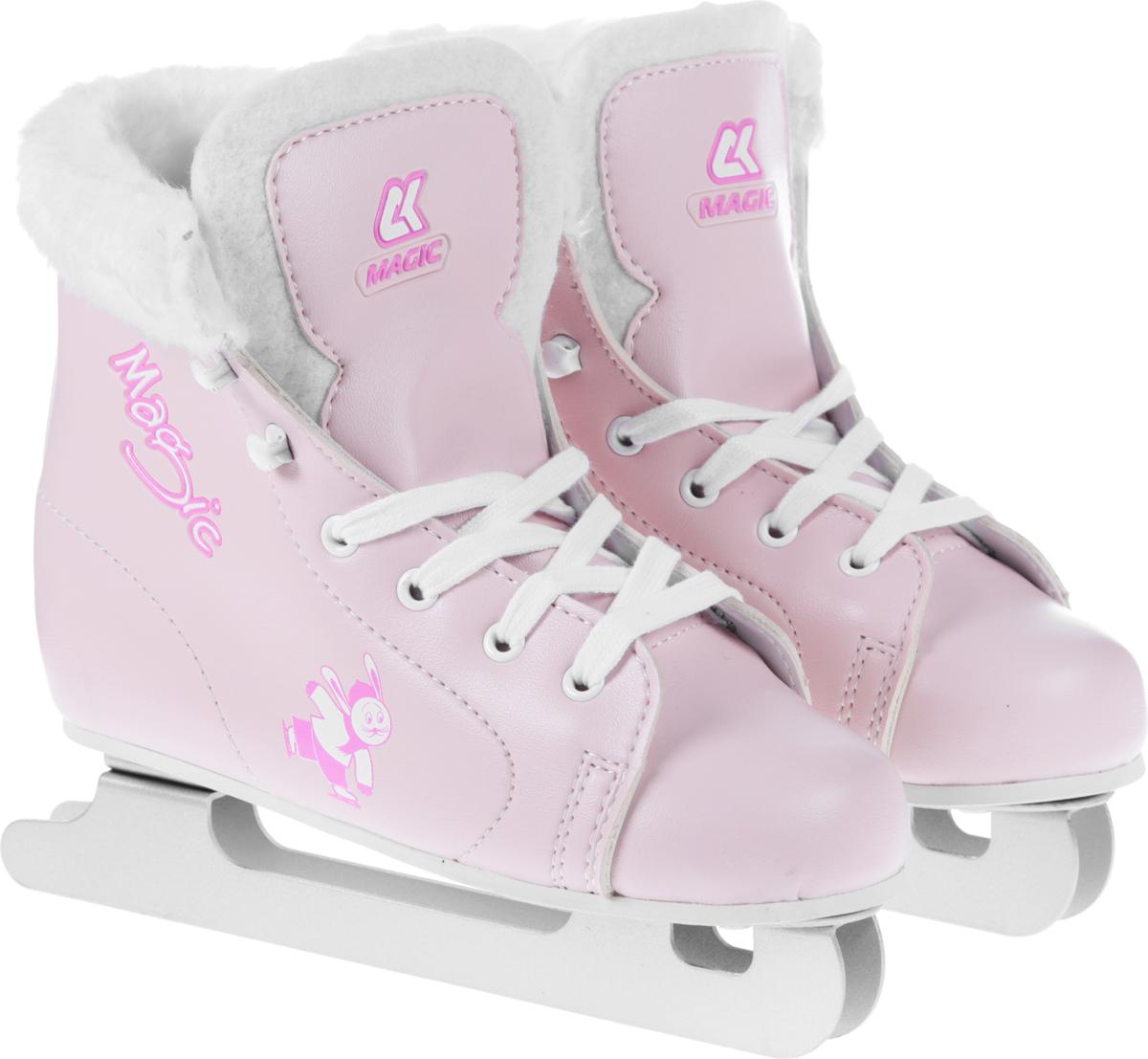Коньки фигурные для девочки СК Magic, цвет: розовый. Размер 32MAGIC_розовый_32Коньки фигурные для девочки СК Magic предназначены для самых маленьких, только начинающих делать первые шаги на льду. Они не только надежны и комфортны в использовании, но и отличаются прекрасным дизайном.Ботинок очень удобен благодаря своей анатомической конструкции и увеличенной жесткости - его усиление надежно защищает голеностоп от повреждений и позволяет кататься увереннее. Внутренняя отделка выполнена из мягкого искусственного меха, который эффективно удерживает тепло, позволяя дольше оставаться на льду.Двойные лезвия, изготовленные из нержавеющей стали с твердостью 53HRC, позволяют ребенку держать равновесие во время катания и приобретать опыт перед началом катания на обычных однополозных коньках.Коньки имеют шнуровку, с помощью которой ножка ребенка будет крепко зафиксирована.