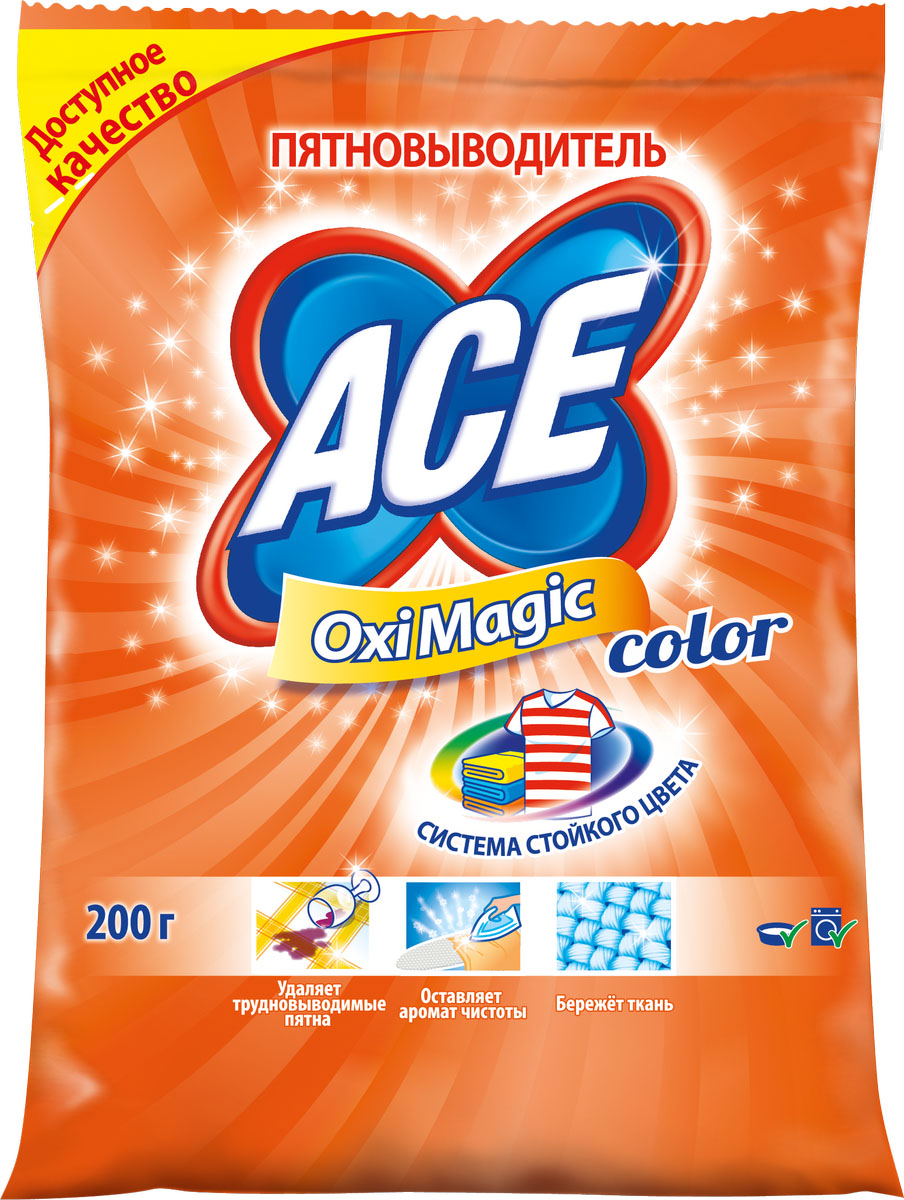 Пятновыводитель Ace Oxi Magic Color, 200 гAC-2702254Порошкообразный пятновыводитель, усилитель стирального порошка Ace OxiMagic Color. Удаляет трудновыводимые пятна, для цветных тканей, а также тканей, требующих деликатного ухода (кроме шерсти и шелка), эффективен уже при 30°С. Без хлора. Вес: 200 г.Изготовитель: Россия. Товар сертифицирован.