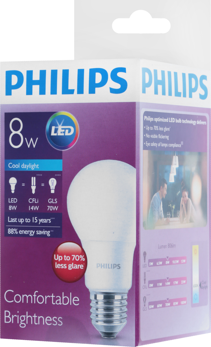 Лампа светодиодная Philips LED bulb, цоколь E27, 8W, 6500K new usb led ball bulb 10leds smd5730 led lamp 5v dc portable led night reading light outdoor led usb bulb