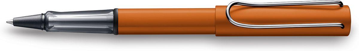 Lamy Al-star Ручка-роллер 342 M63 черная цвет корпуса медно-оранжевый1627797Алюминиевая версия культовой модели LAMY safari под названием LAMY Al-star.Корпус и колпачок из анодированного алюминия. Эргономичный хват, позволяющий пальцам принять правильное положение при письме, изготовлен из прозрачного пластика. Металлический клип на колпачке напоминает по форме канцелярскую скрепку. Чернильный роллер пишет мягко и почти без нажима - подобно перьевой ручке, но прост в обращении, как шариковая, т.к. при письме чернила подаются на бумагу с помощью шарика на конце стержня. Используется со стержнями LAMY М63.Дизайн: Вольфганг ФабианИстория бренда LAMY насчитывает более 80-ти лет, а его философия заключается в слогане Дизайн. Сделано в Германии. Компания получила более 100 самых престижных дизайнерских наград. Все пишущие инструменты LAMY производятся на фабрике в Гейдельберге (Германия).