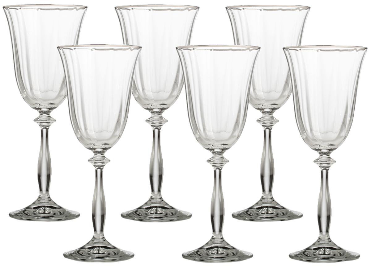 Набор бокалов для вина Bohemia Crystall Анжела, 250 мл, 6 шт40600`250`200524Самая продаваемая форма бокалов - с эффектом оптика и платиновой полосой по отличное цене