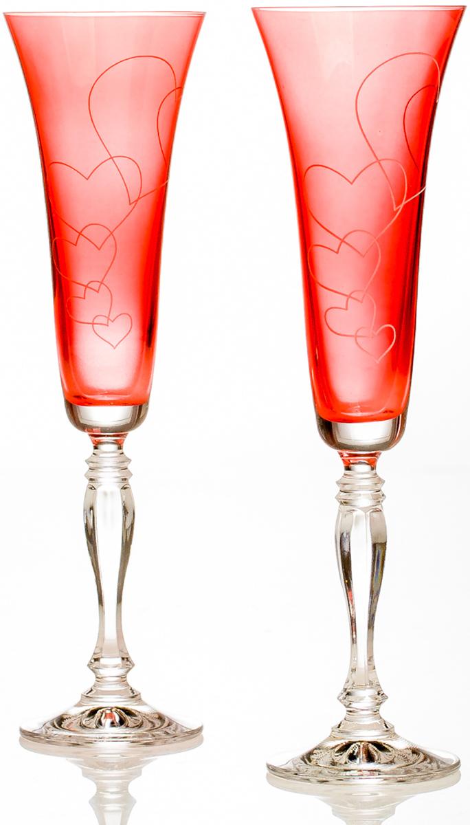 Набор бокалов для шампанского Crystall Bohemia Love. Виктория, 180 мл, 2 шт набор бокалов для бренди 6 шт crystalite bohemia набор бокалов для бренди 6 шт