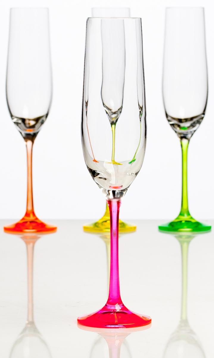 Набор бокалов для шампанского Crystall Bohemia Неон, 190 мл, 4 шт набор бокалов для бренди 6 шт crystalite bohemia набор бокалов для бренди 6 шт