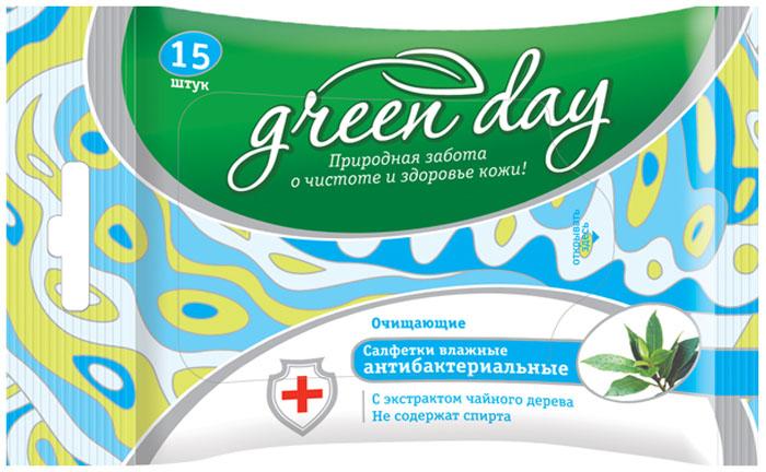 Greenday Салфетки влажные антибактериальные, 15 шт870094Эффективны против различных видов микробов, грамположительных и грамотрицательных бактерий. Салфетки рекомендованы для гигиенической обработки рук.