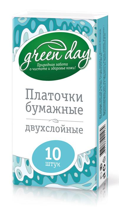 Greenday Бумажные носовые платки, 2-х слойные, 10 шт870252Платочки двухслойные бумажные - мягкие и прочные универсальные сухие салфетки. Изготовлены из 100% целлюлозы.