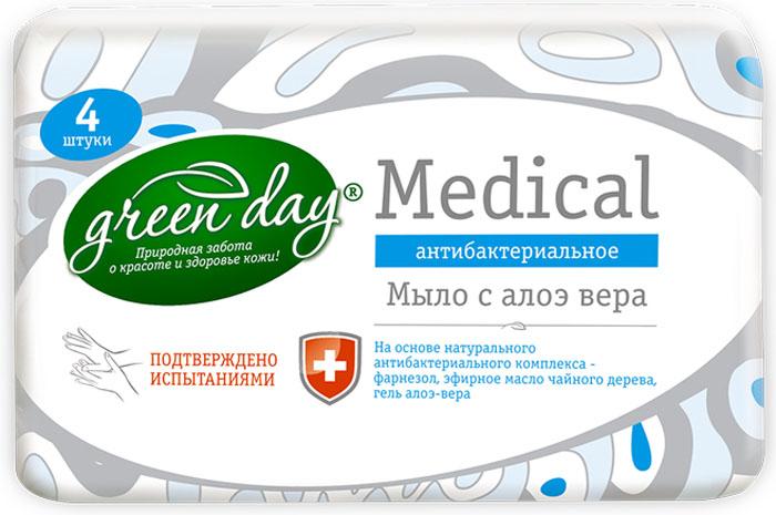 Greenday Мыло туалетное твердое Алоэ-Вера с антибактериальным эффектом, 75 г x 4 шт